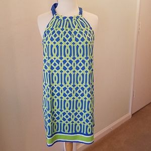 Mud Pie Women Green n Blue Off the Shoulder  Dress